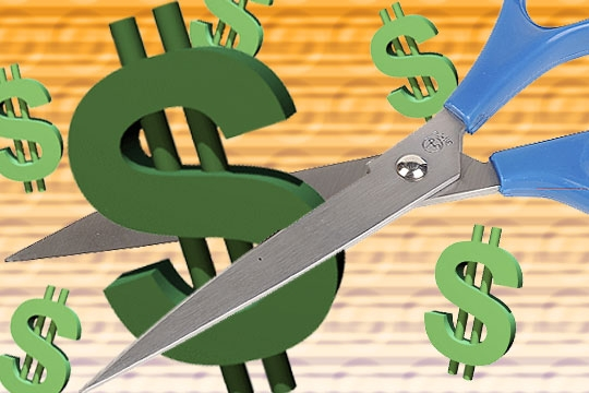 lower cost, dollar sign, money, scissors, cut the money